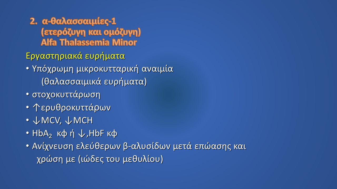 Εργαστηριακά ευρήματα Υπόχρωμη μικροκυτταρική αναιμία Υπόχρωμη μικροκυτταρική αναιμία (θαλασσαιμικά ευρήματα) (θαλασσαιμικά ευρήματα) στοχοκυττάρωση στοχοκυττάρωση ↑ερυθροκυττά ρ ων ↑ερυθροκυττά ρ ων ↓MCV, ↓MCH ↓MCV, ↓MCH HbA 2 κφ ή ↓,HbF κφ HbA 2 κφ ή ↓,HbF κφ Ανίχνευση ελεύθερων β-αλυσίδων μετά επώασης και Ανίχνευση ελεύθερων β-αλυσίδων μετά επώασης και χρώση με (ιώδες του μεθυλίου) χρώση με (ιώδες του μεθυλίου)