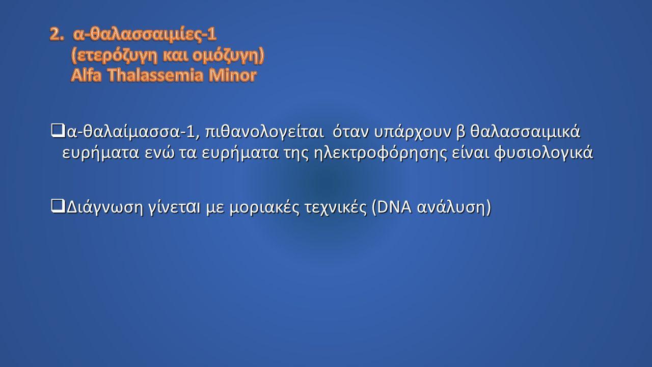  α-θαλαίμασσα-1, πιθανολογείται όταν υπάρχουν β θαλασσαιμικά ευρήματα ενώ τα ευρήματα της ηλεκτροφόρησης είναι φυσιολογικά  Διάγνωση γίνετ αι με μοριακές τεχνικές (DNA ανάλυση)