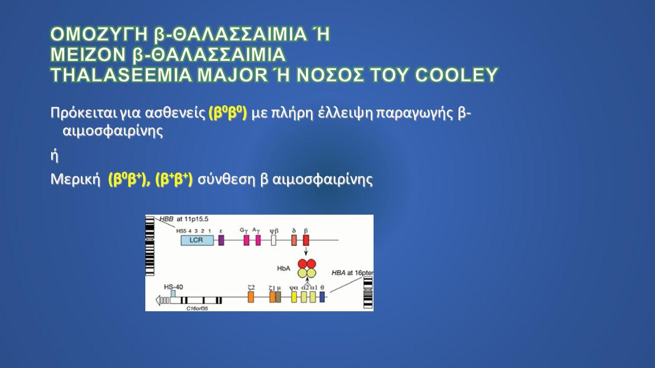 Πρόκειται για ασθενείς (β 0 β 0 ) με πλήρη έλλειψη παραγωγής β- αιμοσφαιρίνης ή Μερική (β 0 β + ), (β + β + ) σύνθεση β αιμοσφαιρίνης