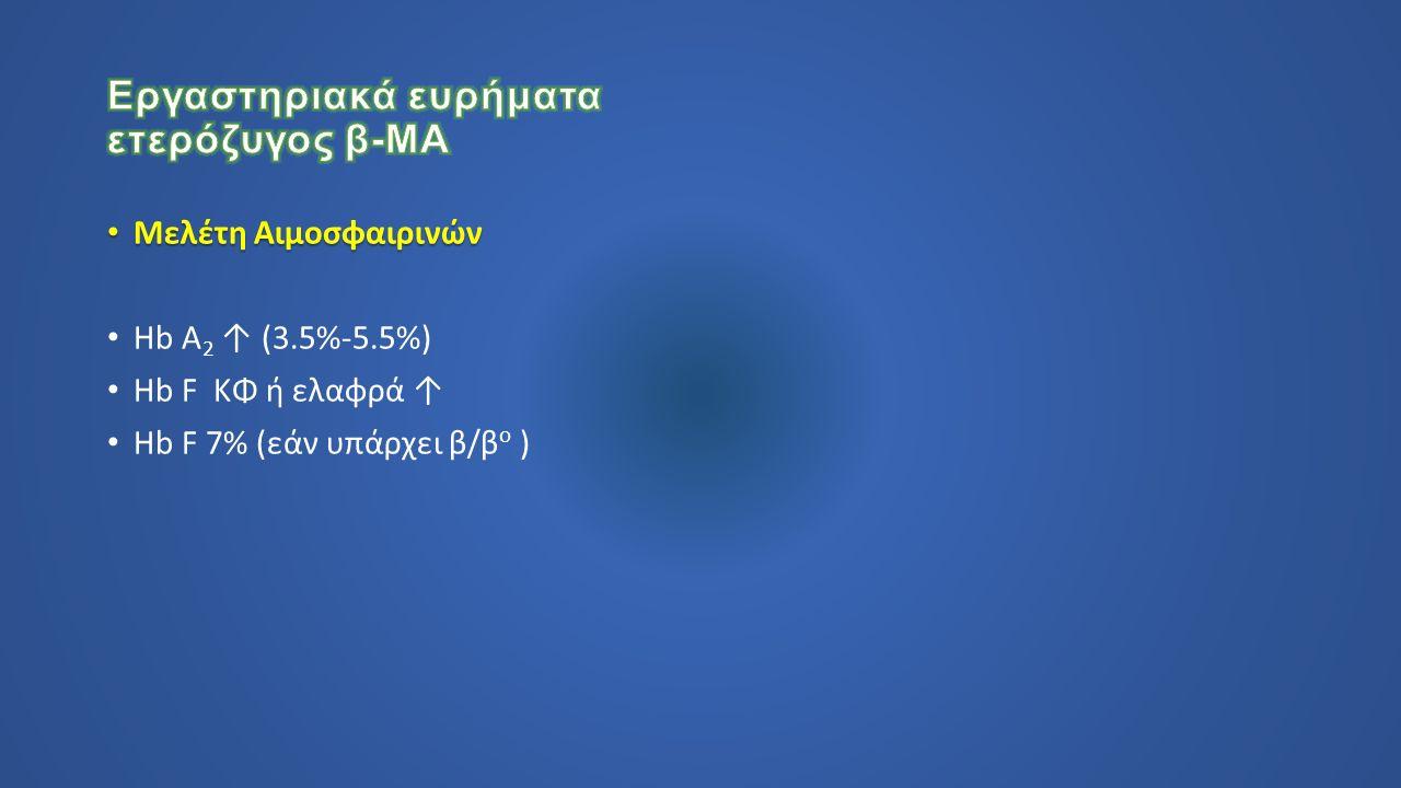 Μελέτη Αιμοσφαιρινών Μελέτη Αιμοσφαιρινών Hb A 2 ↑ (3.5%-5.5%) Hb F ΚΦ ή ελαφρά ↑ Hb F 7% (εάν υπάρχει β/β o )