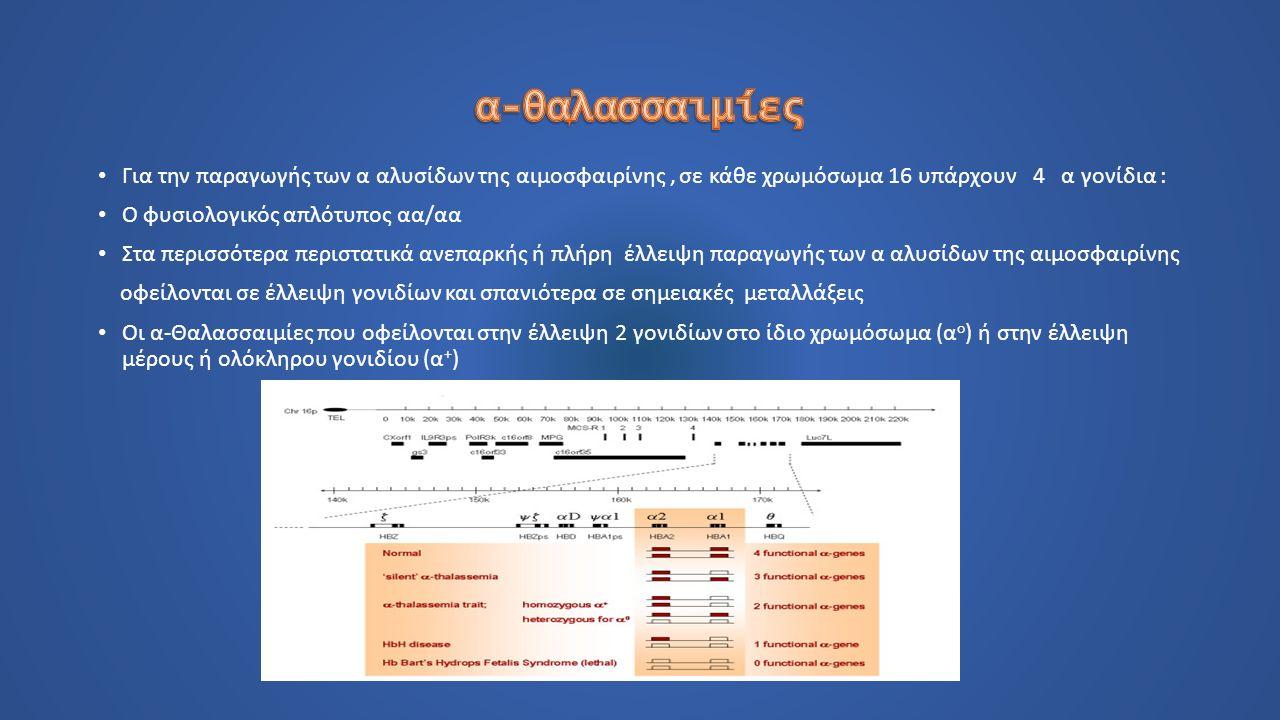 Για την παραγωγής των α αλυσίδων της αιμοσφαιρίνης, σε κάθε χρωμόσωμα 16 υπάρχουν 4 α γονίδια : Ο φυσιολογικός απλότυπος αα/αα Στα περισσότερα περιστατικά ανεπαρκής ή πλήρη έλλειψη παραγωγής των α αλυσίδων της αιμοσφαιρίνης οφείλονται σε έλλειψη γονιδίων και σπανιότερα σε σημειακές μεταλλάξεις Οι α-Θαλασσαιμίες που οφείλονται στην έλλειψη 2 γονιδίων στο ίδιο χρωμόσωμα (α ο ) ή στην έλλειψη μέρους ή ολόκληρου γονιδίου (α + )