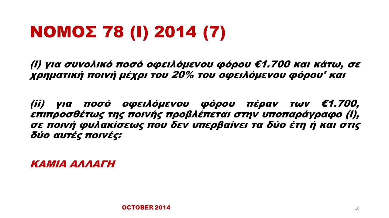 ΝΟΜΟΣ 78 (Ι) 2014 (7) (i) για συνολικό ποσό οφειλόμενου φόρου €1.700 και κάτω, σε χρηματική ποινή μέχρι του 20% του οφειλόμενου φόρου και (ii) για ποσό οφειλόμενου φόρου πέραν των €1.700, επιπροσθέτως της ποινής προβλέπεται στην υποπαράγραφο (i), σε ποινή φυλακίσεως που δεν υπερβαίνει τα δύο έτη ή και στις δύο αυτές ποινές: ΚΑΜΙΑ ΑΛΛΑΓΗ OCTOBER 2014 18