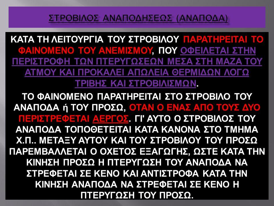 ΚΑΤΑ ΤΗ ΛΕΙΤΟΥΡΓΙΑ ΤΟΥ ΣΤΡΟΒΙΛΟΥ ΠΑΡΑΤΗΡΕΙΤΑΙ ΤΟ ΦΑΙΝΟΜΕΝΟ ΤΟΥ ΑΝΕΜΙΣΜΟΥ, ΠΟΥ ΟΦΕΙΛΕΤΑΙ ΣΤΗΝ ΠΕΡΙΣΤΡΟΦΗ ΤΩΝ ΠΤΕΡΥΓΩΣΕΩΝ ΜΕΣΑ ΣΤΗ ΜΑΖΑ ΤΟΥ ΑΤΜΟΥ ΚΑΙ ΠΡ