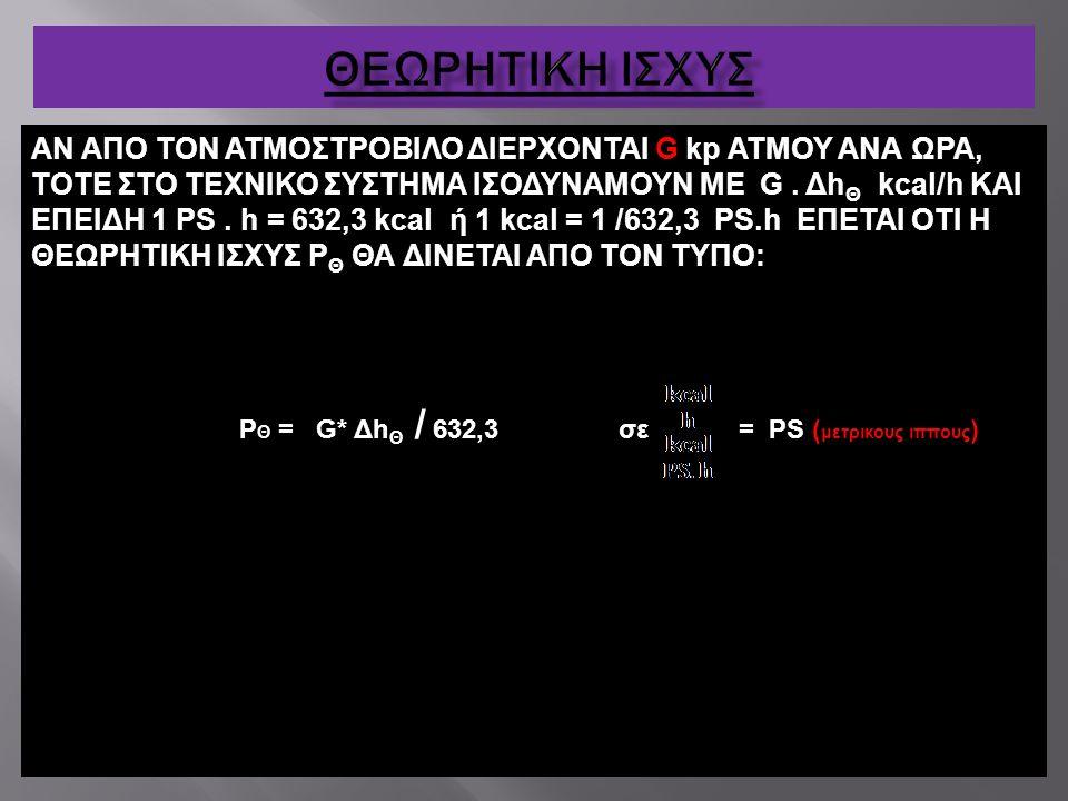 ΑΝ ΑΠΟ ΤΟΝ ΑΤΜΟΣΤΡΟΒΙΛΟ ΔΙΕΡΧΟΝΤΑΙ G kp ΑΤΜΟΥ ΑΝΑ ΩΡΑ, ΤΟΤΕ ΣΤΟ ΤΕΧΝΙΚΟ ΣΥΣΤΗΜΑ ΙΣΟΔΥΝΑΜΟΥΝ ΜΕ G. Δh Θ kcal/h ΚΑΙ ΕΠΕΙΔΗ 1 ΡS. h = 632,3 kcal ή 1 kcal