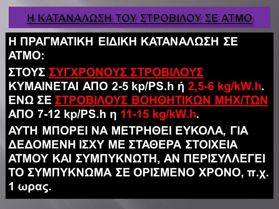 Η ΠΡΑΓΜΑΤΙΚΗ ΕΙΔΙΚΗ ΚΑΤΑΝΑΛΩΣΗ ΣΕ ΑΤΜΟ: ΣΤΟΥΣ ΣΥΓΧΡΟΝΟΥΣ ΣΤΡΟΒΙΛΟΥΣ ΚΥΜΑΙΝΕΤΑΙ ΑΠΟ 2-5 kp/ΡS.h ή 2,5-6 kg/kW.h. ΕΝΩ ΣΕ ΣΤΡΟΒΙΛΟΥΣ ΒΟΗΘΗΤΙΚΩΝ ΜΗΧ/ΤΩΝ Α