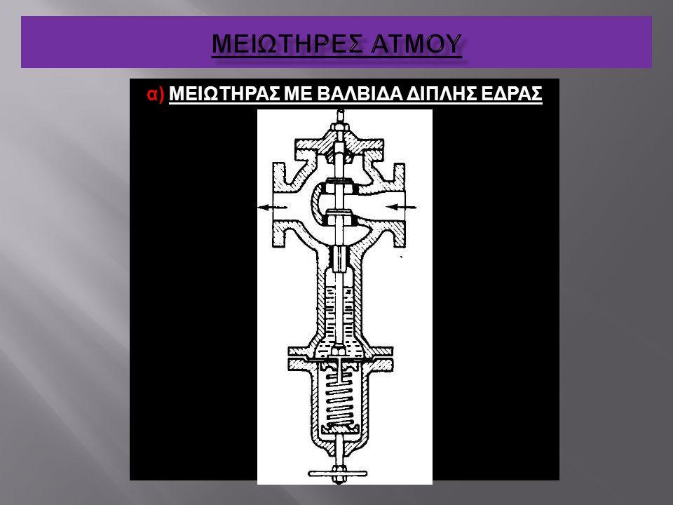 α) ΜΕΙΩΤΗΡΑΣ ΜΕ ΒΑΛΒΙΔΑ ΔΙΠΛΗΣ ΕΔΡΑΣ