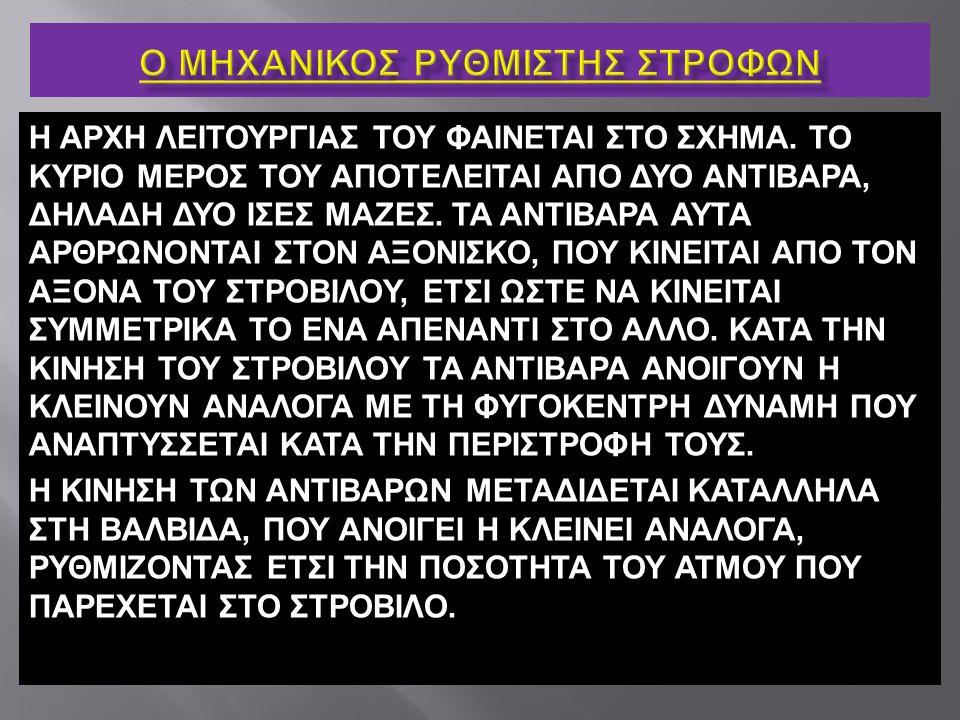 Η ΑΡΧΗ ΛΕΙΤΟΥΡΓΙΑΣ ΤΟΥ ΦΑΙΝΕΤΑΙ ΣΤΟ ΣΧΗΜΑ. ΤΟ ΚΥΡΙΟ ΜΕΡΟΣ ΤΟΥ ΑΠΟΤΕΛΕΙΤΑΙ ΑΠΟ ΔΥΟ ΑΝΤΙΒΑΡΑ, ΔΗΛΑΔΗ ΔΥΟ ΙΣΕΣ ΜΑΖΕΣ. ΤΑ ΑΝΤΙΒΑΡΑ ΑΥΤΑ ΑΡΘΡΩΝΟΝΤΑΙ ΣΤΟΝ Α