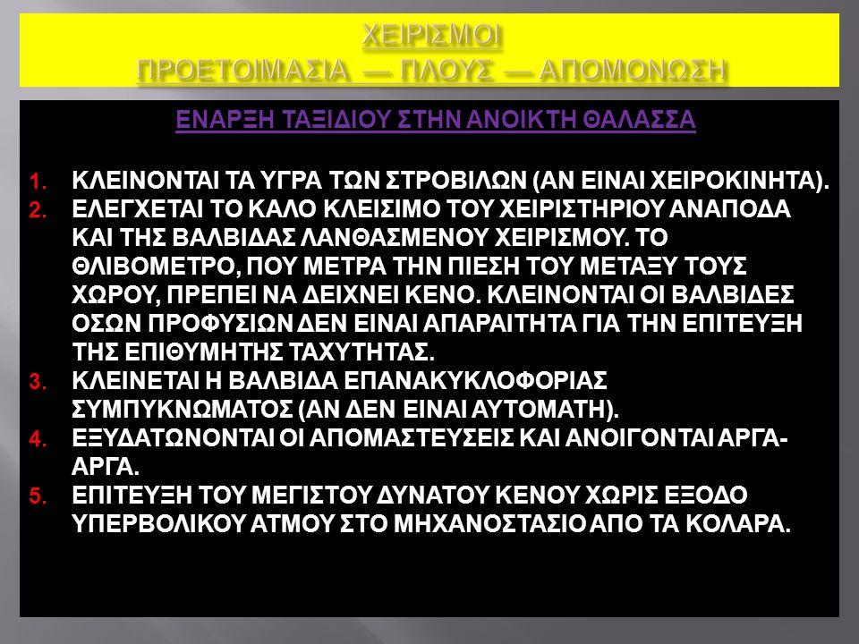 ΕΝΑΡΞΗ ΤΑΞΙΔΙΟΥ ΣΤΗΝ ΑΝΟΙΚΤΗ ΘΑΛΑΣΣΑ 1. ΚΛΕΙΝΟΝΤΑΙ ΤΑ ΥΓΡΑ ΤΩΝ ΣΤΡΟΒΙΛΩΝ (ΑΝ ΕΙΝΑΙ ΧΕΙΡΟΚΙΝΗΤΑ). 2. ΕΛΕΓΧΕΤΑΙ ΤΟ ΚΑΛΟ ΚΛΕΙΣΙΜΟ ΤΟΥ ΧΕΙΡΙΣΤΗΡΙΟΥ ΑΝΑΠΟΔ