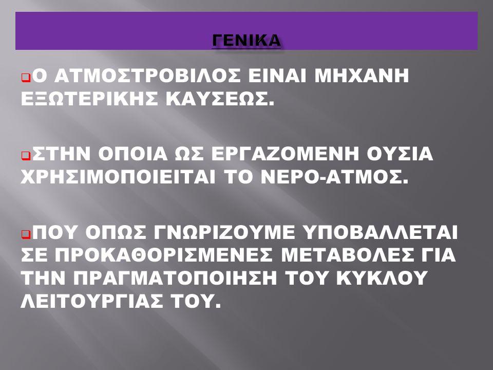  Ο ΑΤΜΟΣΤΡΟΒΙΛΟΣ ΕΙΝΑΙ ΜΗΧΑΝΗ ΕΞΩΤΕΡΙΚΗΣ ΚΑΥΣΕΩΣ.  ΣΤΗΝ ΟΠΟΙΑ ΩΣ ΕΡΓΑΖΟΜΕΝΗ ΟΥΣΙΑ ΧΡΗΣΙΜΟΠΟΙΕΙΤΑΙ ΤΟ ΝΕΡΟ-ΑΤΜΟΣ.  ΠΟΥ ΟΠΩΣ ΓΝΩΡΙΖΟΥΜΕ ΥΠΟΒΑΛΛΕΤΑΙ Σ