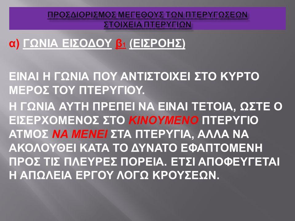 α) ΓΩΝΙΑ ΕΙΣΟΔΟΥ β 1 (ΕΙΣΡΟΗΣ) ΕΙΝΑΙ Η ΓΩΝΙΑ ΠΟΥ ΑΝΤΙΣΤΟΙΧΕΙ ΣΤΟ ΚΥΡΤΟ ΜΕΡΟΣ ΤΟΥ ΠΤΕΡΥΓΙΟΥ. Η ΓΩΝΙΑ ΑΥΤΗ ΠΡΕΠΕΙ ΝΑ ΕΙΝΑΙ ΤΕΤΟΙΑ, ΩΣΤΕ Ο ΕΙΣΕΡΧΟΜΕΝΟΣ Σ