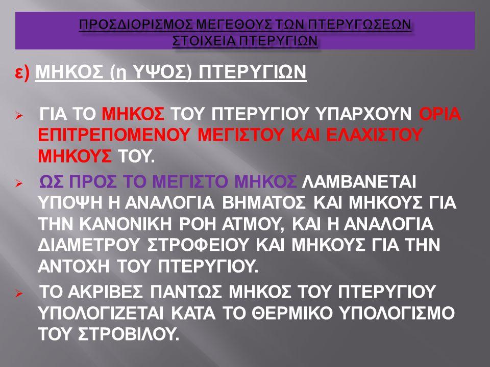 ε) ΜΗΚΟΣ (η ΥΨΟΣ) ΠΤΕΡΥΓΙΩΝ  ΓΙΑ ΤΟ ΜΗΚΟΣ ΤΟΥ ΠΤΕΡΥΓΙΟΥ ΥΠΑΡΧΟΥΝ ΟΡΙΑ ΕΠΙΤΡΕΠΟΜΕΝΟΥ ΜΕΓΙΣΤΟΥ ΚΑΙ ΕΛΑΧΙΣΤΟΥ ΜΗΚΟΥΣ ΤΟΥ.  ΩΣ ΠΡΟΣ ΤΟ ΜΕΓΙΣΤΟ ΜΗΚΟΣ ΛΑΜ
