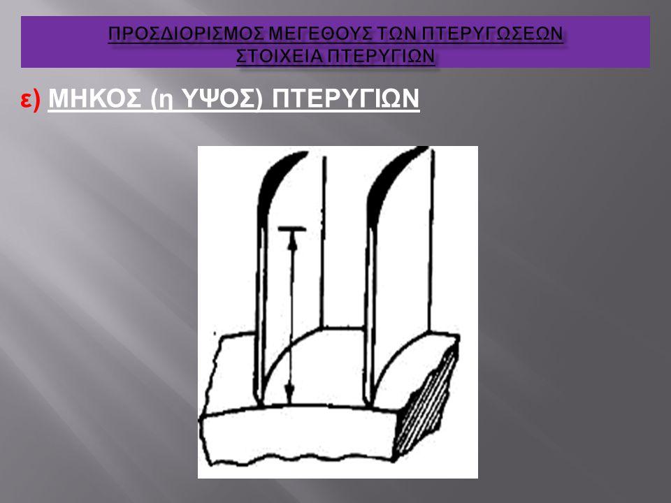 ε) ΜΗΚΟΣ (η ΥΨΟΣ) ΠΤΕΡΥΓΙΩΝ