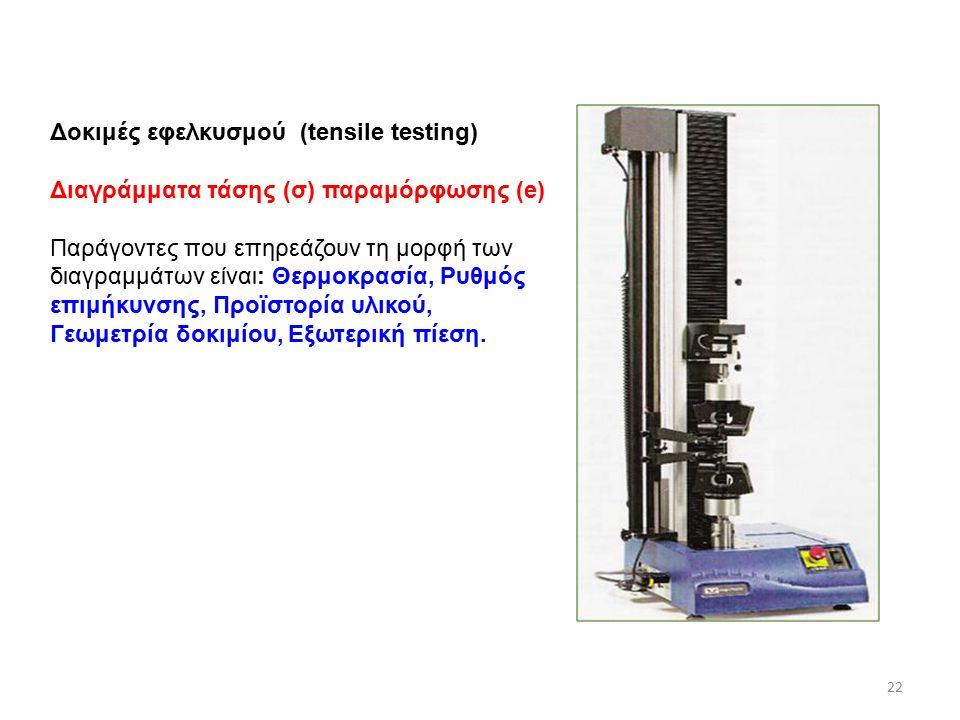 22 Δοκιμές εφελκυσμού (tensile testing) Διαγράμματα τάσης (σ) παραμόρφωσης (e) Παράγοντες που επηρεάζουν τη μορφή των διαγραμμάτων είναι: Θερμοκρασία, Ρυθμός επιμήκυνσης, Προϊστορία υλικού, Γεωμετρία δοκιμίου, Εξωτερική πίεση.