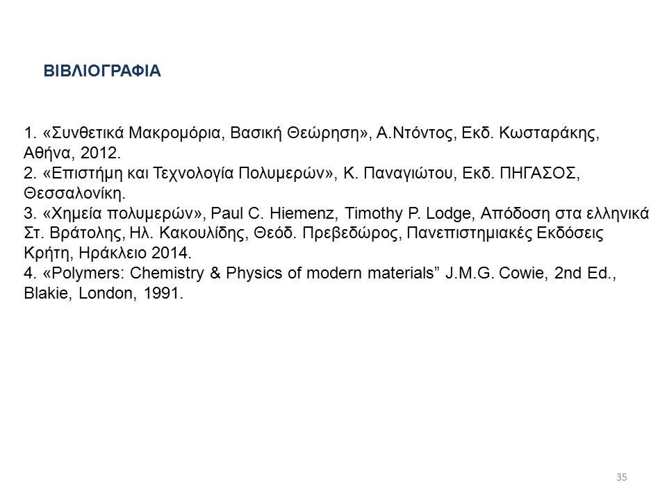 1. «Συνθετικά Μακρομόρια, Βασική Θεώρηση», Α.Ντόντος, Εκδ.