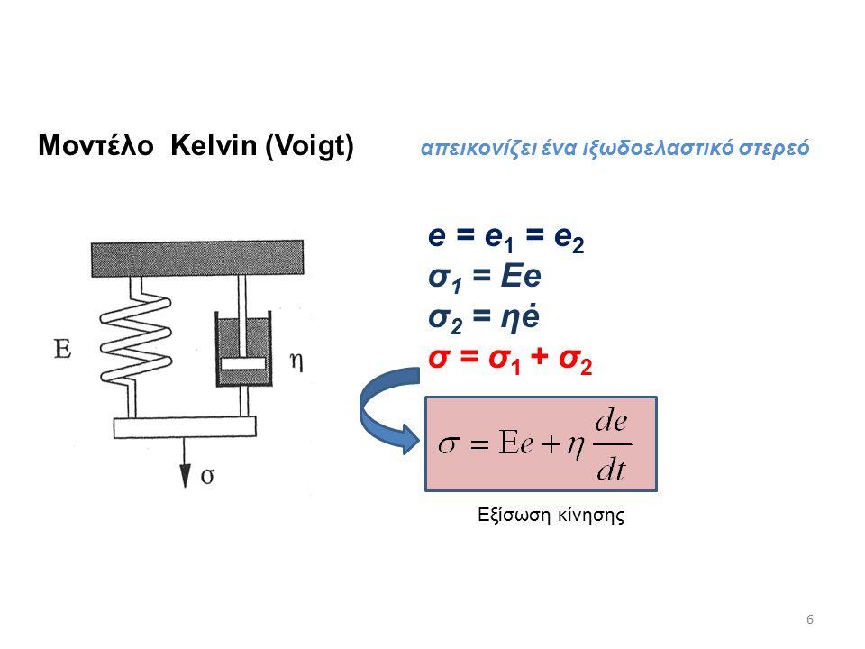 Μοντέλο Kelvin (Voigt) e = e 1 = e 2 σ 1 = Εe σ 2 = ηė σ = σ 1 + σ 2 6 απεικονίζει ένα ιξωδοελαστικό στερεό Εξίσωση κίνησης