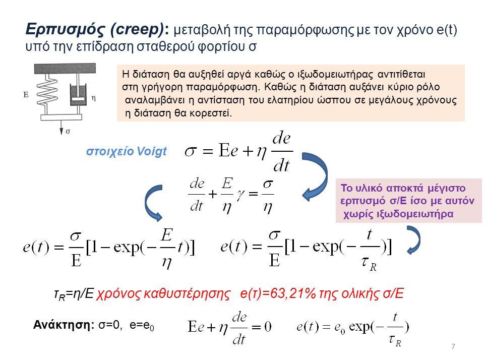 Ερπυσμός (creep): μεταβολή της παραμόρφωσης με τον χρόνο e(t) υπό την επίδραση σταθερού φορτίου σ τ R =η/Ε χρόνος καθυστέρησης e(τ)=63,21% της ολικής σ/Ε Ανάκτηση: σ=0, e=e 0 7 στοιχείο Voigt Η διάταση θα αυξηθεί αργά καθώς ο ιξωδομειωτήρας αντιτίθεται στη γρήγορη παραμόρφωση.