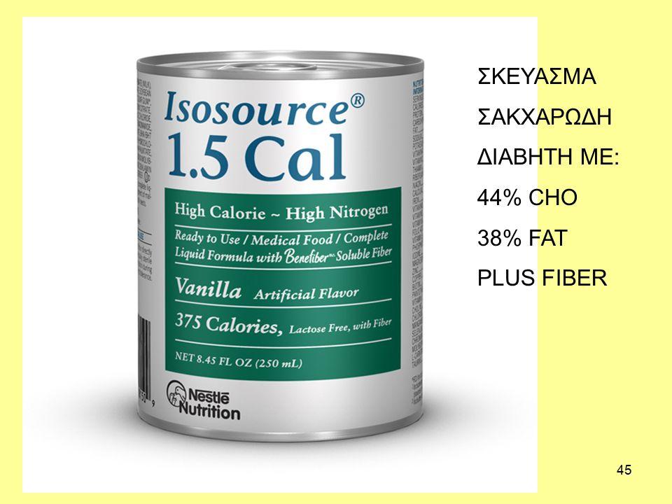 45 ΣΚΕΥΑΣΜΑ ΣΑΚΧΑΡΩΔΗ ΔΙΑΒΗΤΗ ME: 44% CHO 38% FAT PLUS FIBER