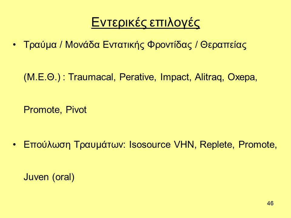 46 Εντερικές επιλογές Τραύμα / Μονάδα Εντατικής Φροντίδας / Θεραπείας (Μ.Ε.Θ.) : Traumacal, Perative, Impact, Alitraq, Oxepa, Promote, Pivot Επούλωση Τραυμάτων: Isosource VHN, Replete, Promote, Juven (oral)