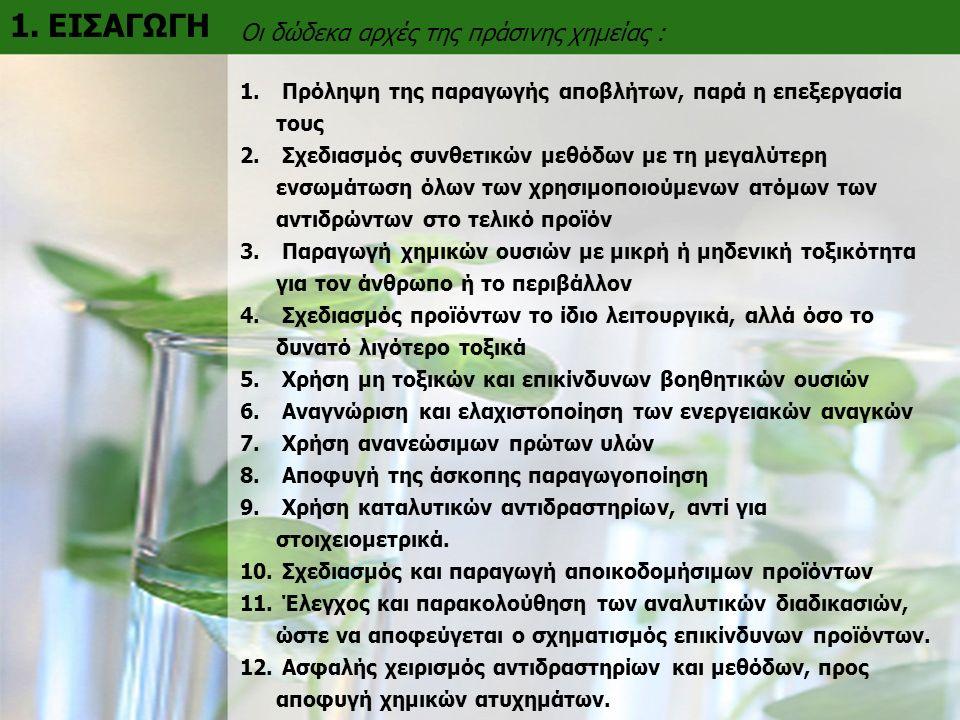 1. ΕΙΣΑΓΩΓΗ Οι δώδεκα αρχές της πράσινης χημείας : 1.