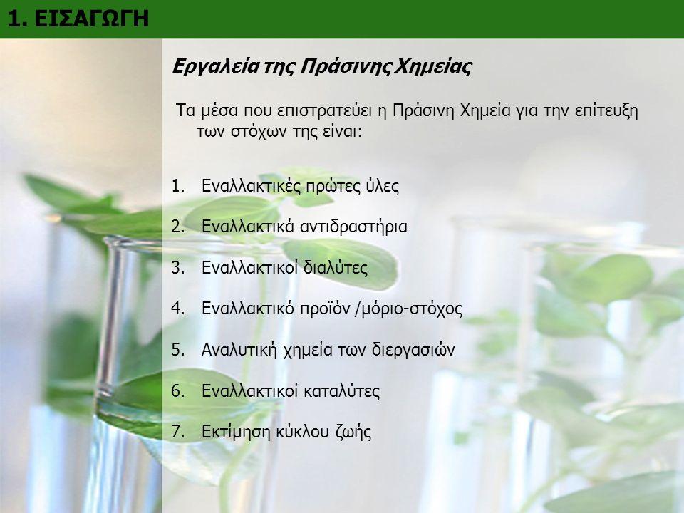 1. ΕΙΣΑΓΩΓΗ Εργαλεία της Πράσινης Χημείας Τα μέσα που επιστρατεύει η Πράσινη Χημεία για την επίτευξη των στόχων της είναι: 1. Εναλλακτικές πρώτες ύλες