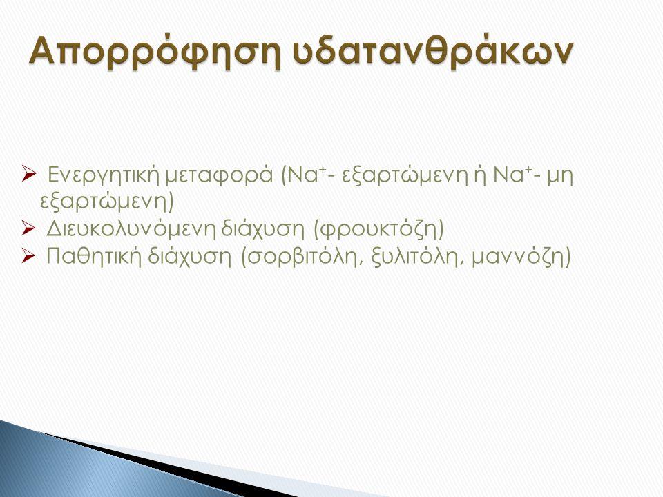  Ενεργητική μεταφορά (Νa + - εξαρτώμενη ή Νa + - μη εξαρτώμενη)  Διευκολυνόμενη διάχυση (φρουκτόζη)  Παθητική διάχυση (σορβιτόλη, ξυλιτόλη, μαννόζη