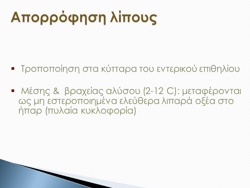  Τροποποίηση στα κύτταρα του εντερικού επιθηλίου  Μέσης & βραχείας αλύσου (2-12 C): μεταφέρονται ως μη εστεροποιημένα ελεύθερα λιπαρά οξέα στο ήπαρ (πυλαία κυκλοφορία)