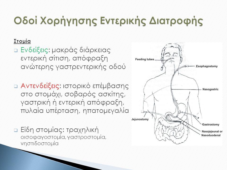 Στομία  Ενδείξεις: μακράς διάρκειας εντερική σίτιση, απόφραξη ανώτερης γαστρεντερικής οδού  Αντενδείξεις: ιστορικό επέμβασης στο στομάχι, σοβαρός ασκίτης, γαστρική ή εντερική απόφραξη, πυλαία υπέρταση, ηπατομεγαλία  Είδη στομίας: τραχηλική οισοφαγοστομία, γαστροστομία, νηστιδοστομία