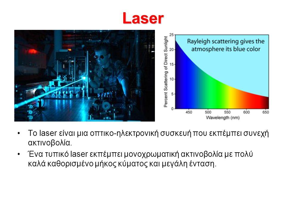 Laser Το laser είναι μια οπτικο-ηλεκτρονική συσκευή που εκπέμπει συνεχή ακτινοβολία.