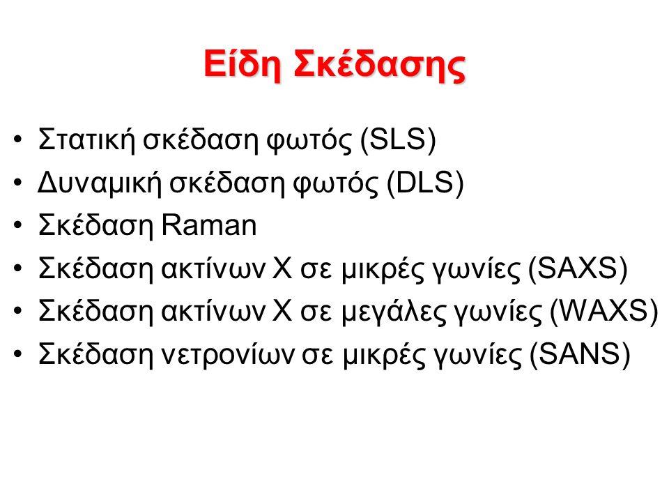 Είδη Σκέδασης Στατική σκέδαση φωτός (SLS) Δυναμική σκέδαση φωτός (DLS) Σκέδαση Raman Σκέδαση ακτίνων Χ σε μικρές γωνίες (SAXS) Σκέδαση ακτίνων Χ σε μεγάλες γωνίες (WAXS) Σκέδαση νετρονίων σε μικρές γωνίες (SANS)