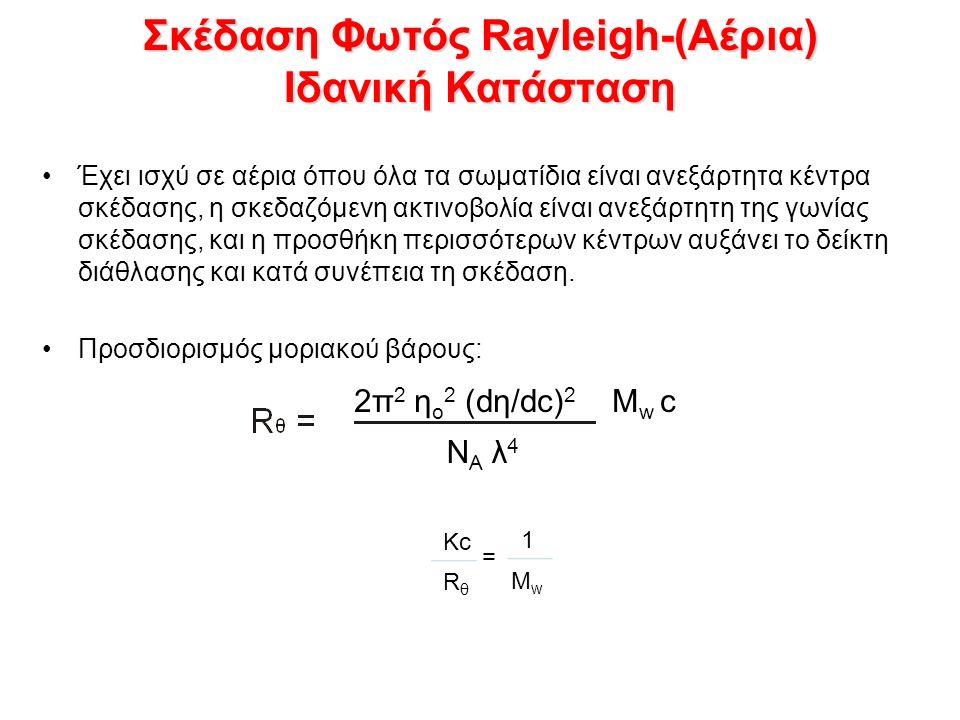 Σκέδαση Φωτός Rayleigh-(Αέρια) Ιδανική Κατάσταση Έχει ισχύ σε αέρια όπου όλα τα σωματίδια είναι ανεξάρτητα κέντρα σκέδασης, η σκεδαζόμενη ακτινοβολία είναι ανεξάρτητη της γωνίας σκέδασης, και η προσθήκη περισσότερων κέντρων αυξάνει το δείκτη διάθλασης και κατά συνέπεια τη σκέδαση.