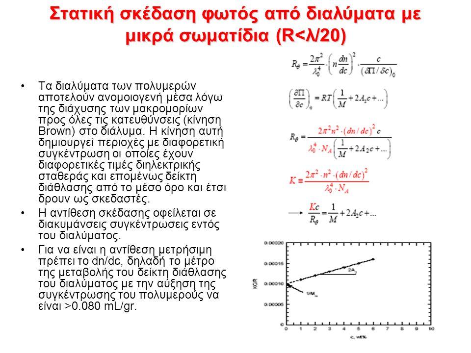 Στατική σκέδαση φωτός από διαλύματα με μικρά σωματίδια (R<λ/20) Τα διαλύματα των πολυμερών αποτελούν ανομοιογενή μέσα λόγω της διάχυσης των μακρομορίων προς όλες τις κατευθύνσεις (κίνηση Brown) στο διάλυμα.