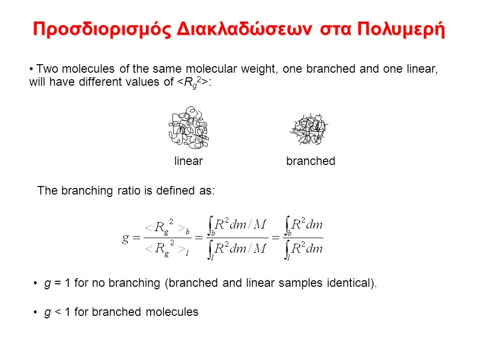 Προσδιορισμός Διακλαδώσεων στα Πολυμερή Two molecules of the same molecular weight, one branched and one linear, will have different values of : g = 1 for no branching (branched and linear samples identical).