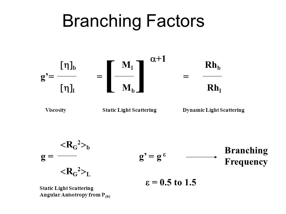Branching Factors [ ] g'= = =  b M l Rh b  l M b Rh l  +1 Viscosity Static Light Scattering Dynamic Light Scattering g = g' = g  RG2bRG2LRG2bRG2L Static Light Scattering Angular Anisotropy from P   = 0.5 to 1.5 Branching Frequency