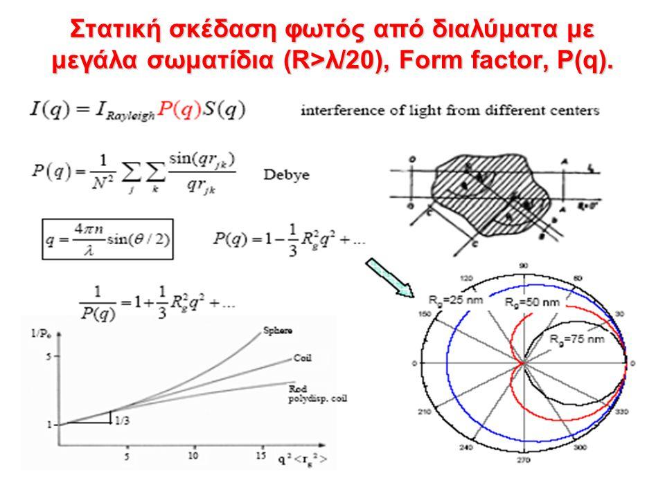 Στατική σκέδαση φωτός από διαλύματα με μεγάλα σωματίδια (R>λ/20), Form factor, P(q).