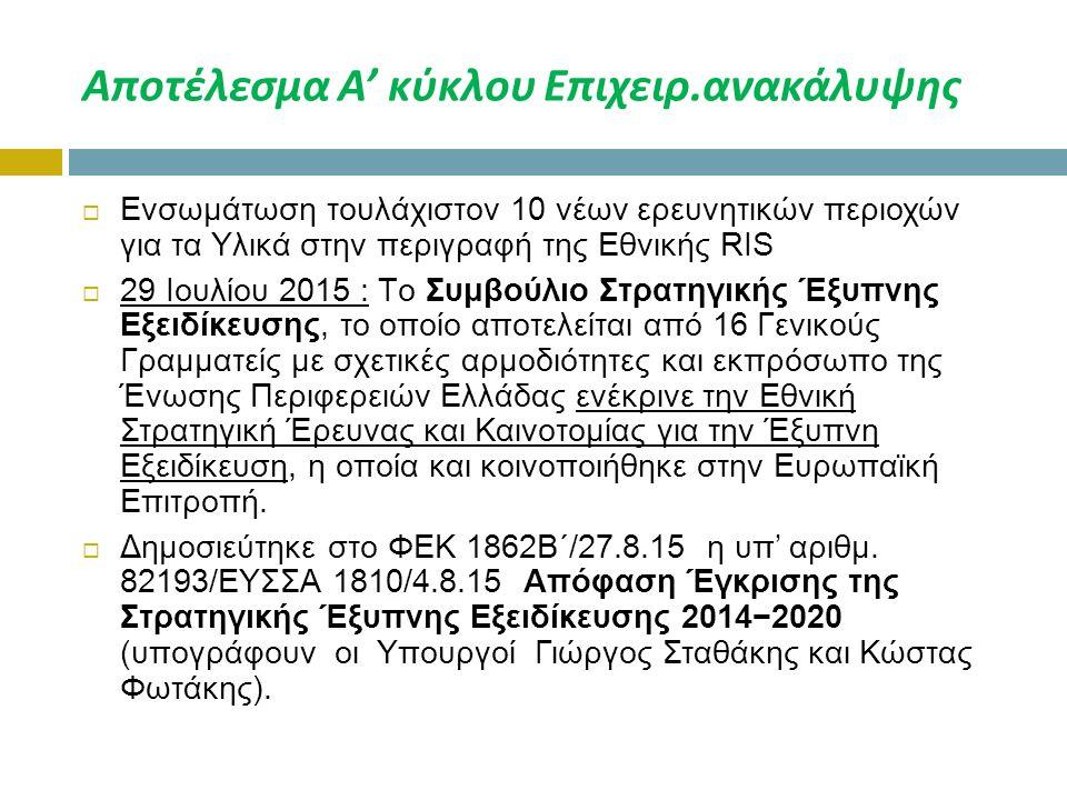 Αποτέλεσμα Α' κύκλου Επιχειρ.ανακάλυψης  Ενσωμάτωση τουλάχιστον 10 νέων ερευνητικών περιοχών για τα Υλικά στην περιγραφή της Εθνικής RIS  29 Ιουλίου 2015 : Tο Συμβούλιο Στρατηγικής Έξυπνης Εξειδίκευσης, το οποίο αποτελείται από 16 Γενικούς Γραμματείς με σχετικές αρμοδιότητες και εκπρόσωπο της Ένωσης Περιφερειών Ελλάδας ενέκρινε την Εθνική Στρατηγική Έρευνας και Καινοτομίας για την Έξυπνη Εξειδίκευση, η οποία και κοινοποιήθηκε στην Ευρωπαϊκή Επιτροπή.