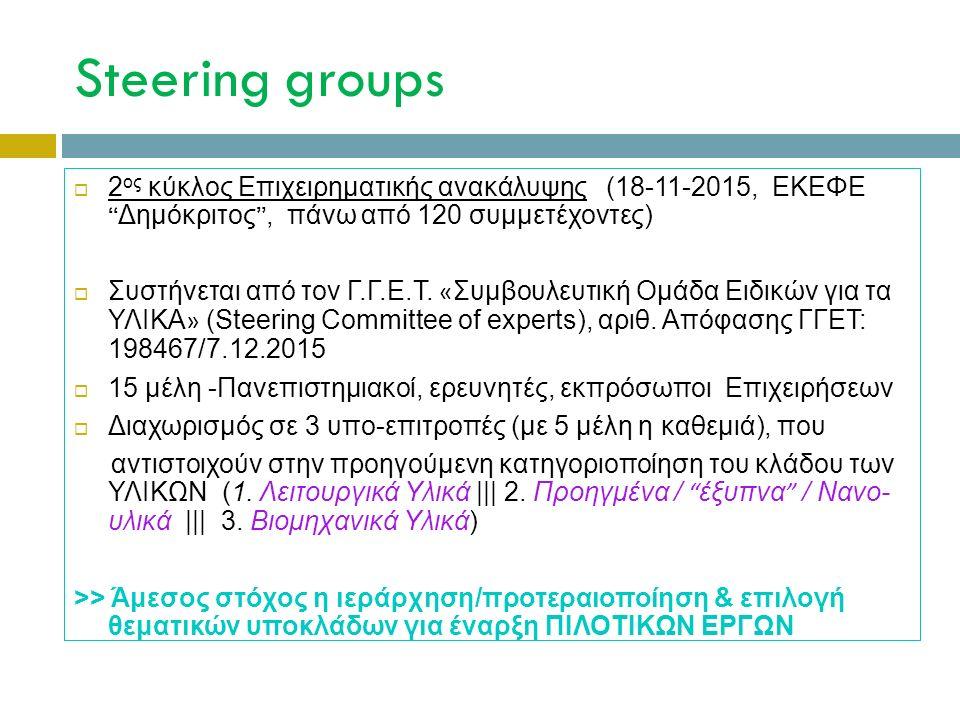 Steering groups  2 ος κύκλος Επιχειρηματικής ανακάλυψης (18-11-2015, ΕΚΕΦΕ Δημόκριτος , πάνω από 120 συμμετέχοντες)  Συστήνεται από τον Γ.Γ.Ε.Τ.
