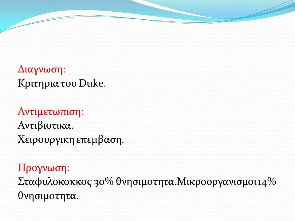Διαγνωση: Κριτηρια του Duke.Αντιμετωπιση: Αντιβιοτικα.