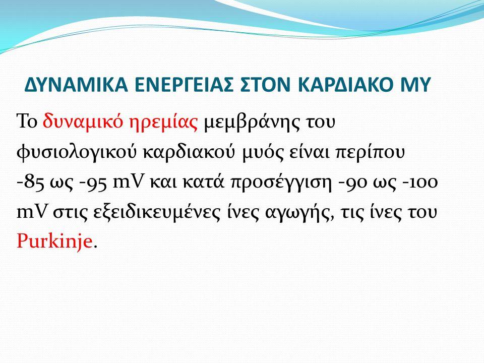 ΔΥΝΑΜΙΚΑ ΕΝΕΡΓΕΙΑΣ ΣΤΟΝ ΚΑΡΔΙΑΚΟ ΜΥ Το δυναμικό ηρεμίας μεμβράνης του φυσιολογικού καρδιακού μυός είναι περίπου -85 ως -95 mV και κατά προσέγγιση -90 ως -100 mV στις εξειδικευμένες ίνες αγωγής, τις ίνες του Purkinje.