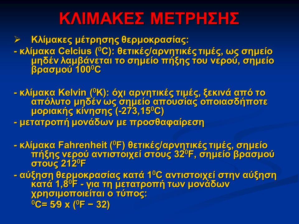 ΚΛΙΜΑΚΕΣ ΜΕΤΡΗΣΗΣ  Κλίμακες μέτρησης θερμοκρασίας: - κλίμακα Celcius ( 0 C): θετικές/αρνητικές τιμές, ως σημείο μηδέν λαμβάνεται το σημείο πήξης του νερού, σημείο βρασμού 100 0 C - κλίμακα Kelvin ( 0 K): όχι αρνητικές τιμές, ξεκινά από το απόλυτο μηδέν ως σημείο απουσίας οποιασδήποτε μοριακής κίνησης (-273,15 0 C) - μετατροπή μονάδων με προσθαφαίρεση - κλίμακα Fahrenheit ( 0 F) θετικές/αρνητικές τιμές, σημείο πήξης νερού αντιστοιχεί στους 32 0 F, σημείο βρασμού στους 212 0 F - αύξηση θερμοκρασίας κατά 1 0 C αντιστοιχεί στην αύξηση κατά 1,8 0 F - για τη μετατροπή των μονάδων χρησιμοποιείται ο τύπος: 0 C= 5⁄9 x ( 0 F − 32) 0 C= 5⁄9 x ( 0 F − 32)