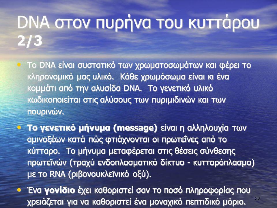 DNA στον πυρήνα του κυττάρου 2/3 Το DNA είναι συστατικό των χρωματοσωμάτων και φέρει το κληρονομικό μας υλικό.