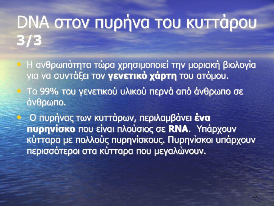DNA στον πυρήνα του κυττάρου 3/3 Η ανθρωπότητα τώρα χρησιμοποιεί την μοριακή βιολογία για να συντάξει τον γενετικό χάρτη του ατόμου.
