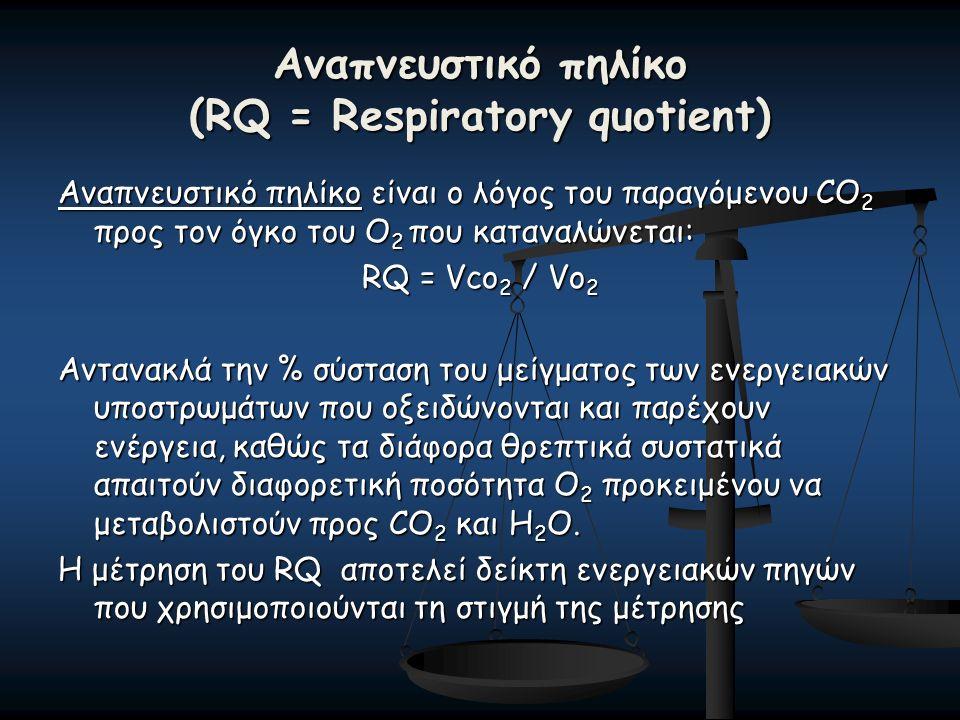 Αναπνευστικό πηλίκο (RQ = Respiratory quotient) Αναπνευστικό πηλίκο είναι ο λόγος του παραγόμενου CO 2 προς τον όγκο του Ο 2 που καταναλώνεται: RQ = Vco 2 / Vo 2 Αντανακλά την % σύσταση του μείγματος των ενεργειακών υποστρωμάτων που οξειδώνονται και παρέχουν ενέργεια, καθώς τα διάφορα θρεπτικά συστατικά απαιτούν διαφορετική ποσότητα Ο 2 προκειμένου να μεταβολιστούν προς CO 2 και Η 2 Ο.