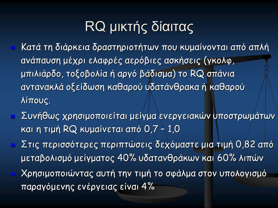 RQ μικτής δίαιτας Κατά τη διάρκεια δραστηριοτήτων που κυμαίνονται από απλή ανάπαυση μέχρι ελαφρές αερόβιες ασκήσεις (γκολφ, μπιλιάρδο, τοξοβολία ή αργό βάδισμα) το RQ σπάνια αντανακλά οξείδωση καθαρού υδατάνθρακα ή καθαρού λίπους.