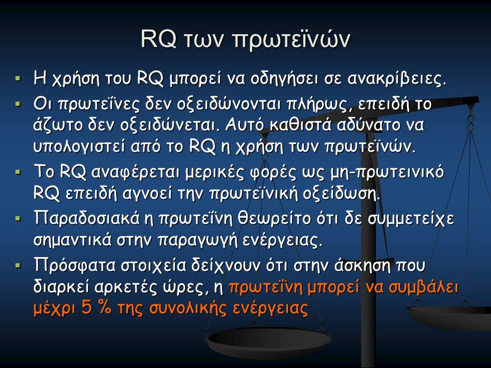 RQ των πρωτεϊνών  Η χρήση του RQ μπορεί να οδηγήσει σε ανακρίβειες.  Οι πρωτεΐνες δεν οξειδώνονται πλήρως, επειδή το άζωτο δεν οξειδώνεται. Αυτό καθ