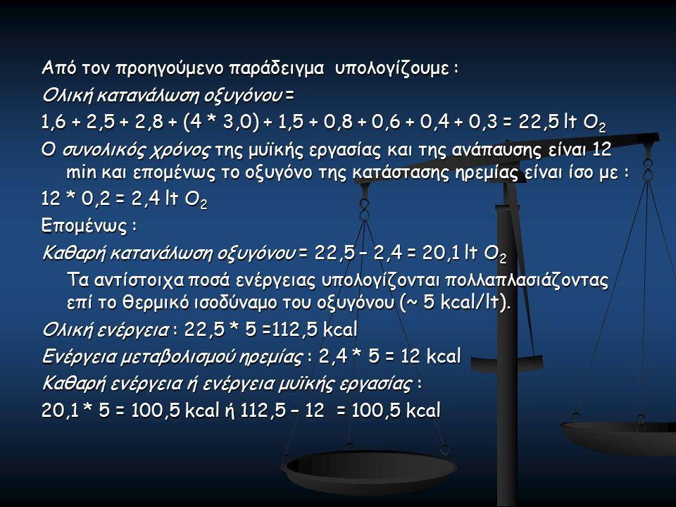 Από τον προηγούμενο παράδειγμα υπολογίζουμε : Ολική κατανάλωση οξυγόνου = 1,6 + 2,5 + 2,8 + (4 * 3,0) + 1,5 + 0,8 + 0,6 + 0,4 + 0,3 = 22,5 lt O 2 Ο συνολικός χρόνος της μυϊκής εργασίας και της ανάπαυσης είναι 12 min και επομένως το οξυγόνο της κατάστασης ηρεμίας είναι ίσο με : 12 * 0,2 = 2,4 lt O 2 Επομένως : Καθαρή κατανάλωση οξυγόνου = 22,5 – 2,4 = 20,1 lt O 2 Τα αντίστοιχα ποσά ενέργειας υπολογίζονται πολλαπλασιάζοντας επί το θερμικό ισοδύναμο του οξυγόνου (~ 5 kcal/lt).
