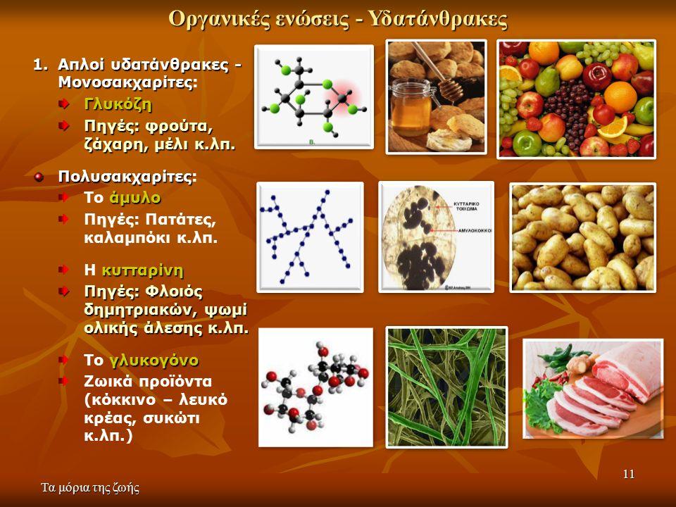 11 Οργανικές ενώσεις - Υδατάνθρακες 1.Απλοί υδατάνθρακες - Μονοσακχαρίτες 1.Απλοί υδατάνθρακες - Μονοσακχαρίτες:Γλυκόζη Πηγές: φρούτα, ζάχαρη, μέλι κ.λπ.