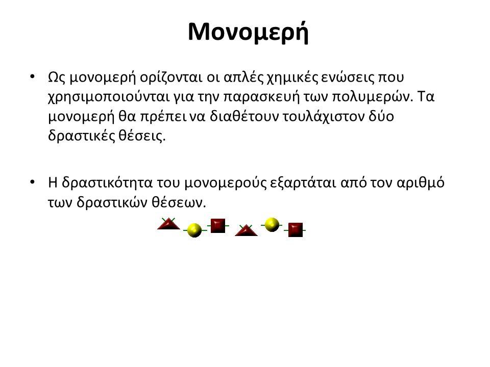 Μονομερή Ως μονομερή ορίζονται οι απλές χημικές ενώσεις που χρησιμοποιούνται για την παρασκευή των πολυμερών.