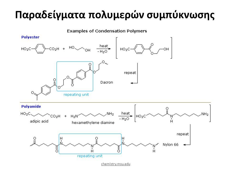 Παραδείγματα πολυμερών συμπύκνωσης chemistry.msu.edu