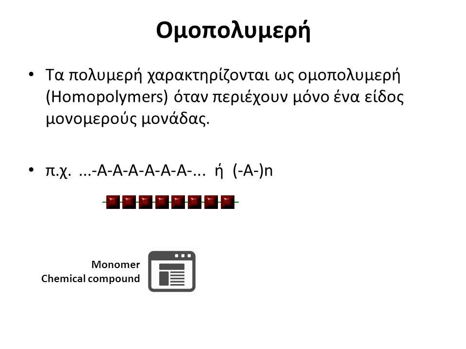 Ομοπολυμερή Τα πολυμερή χαρακτηρίζονται ως ομοπολυμερή (Homopolymers) όταν περιέχουν μόνο ένα είδος μονομερούς μονάδας.