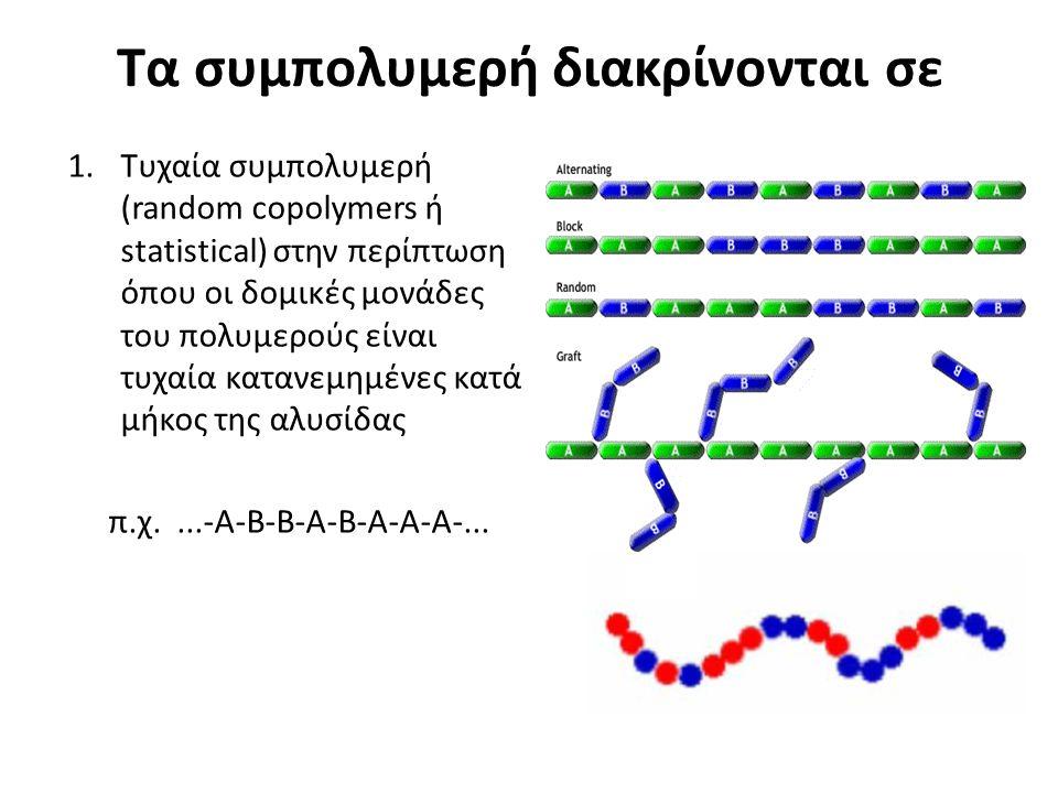 Τα συμπολυμερή διακρίνονται σε 1.Τυχαία συμπολυμερή (random copolymers ή statistical) στην περίπτωση όπου οι δομικές μονάδες του πολυμερούς είναι τυχαία κατανεμημένες κατά μήκος της αλυσίδας π.χ....-Α-B-B-Α-B-Α-A-A-...